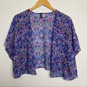 H&M Divided Sheer Boho Flowing Open Front Top